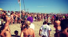 Viareggio flash mob with swim in sea