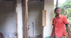 Villagers are hired and trained to construct the sanitation blocks by NKS