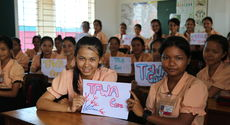 The girls from class 8D thank-you for TFWA Care support